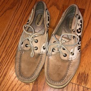 Women's Sperry cheetah boat shoes